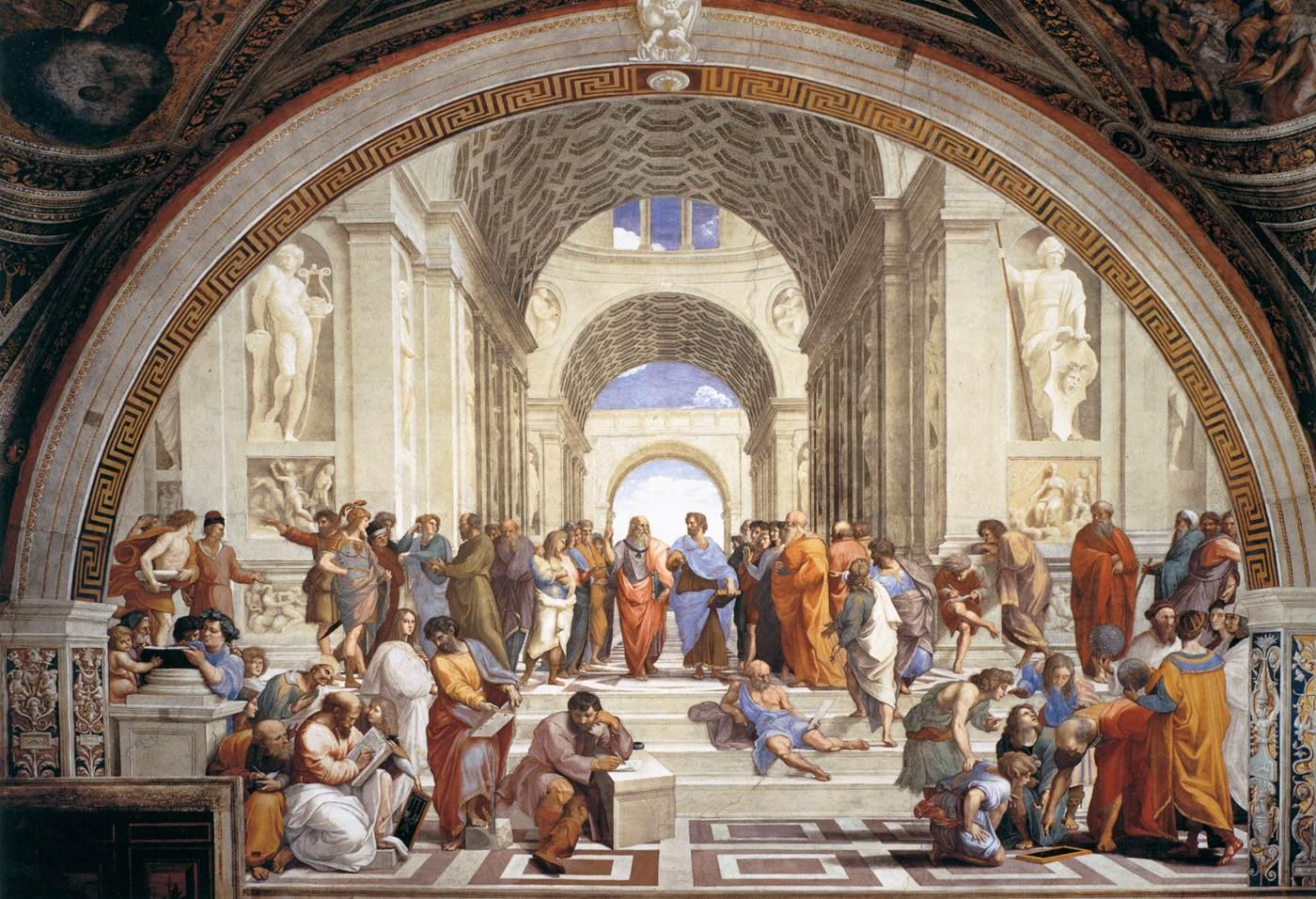 A Escola de Atenas, Rafael Sanzio, 1510-11, Sala das Assinaturas, Vaticano