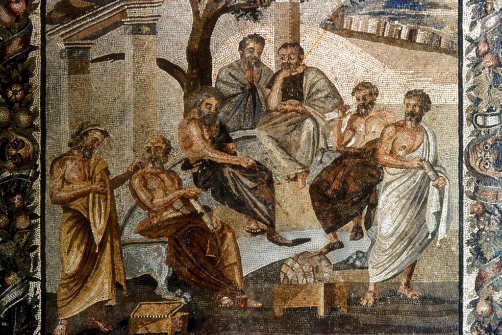A Academia de Platão, mosaico romano, Pompeia